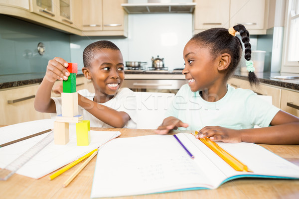 Children doing homework in the kitchen Stock photo © wavebreak_media