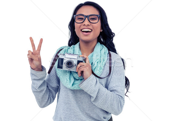Asian donna fotocamera digitale pace Foto d'archivio © wavebreak_media