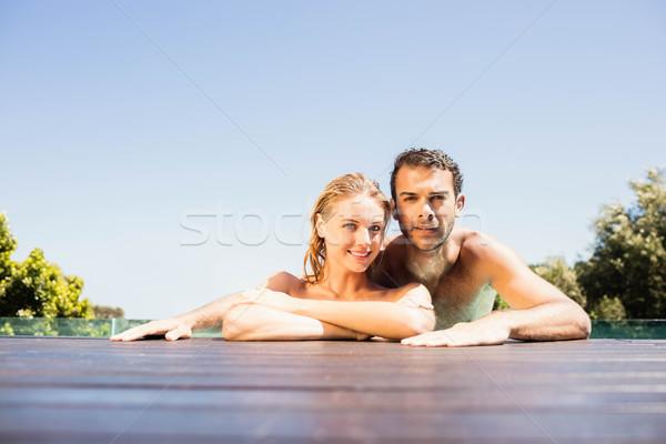 幸せ カップル プール エッジ 見える ストックフォト © wavebreak_media