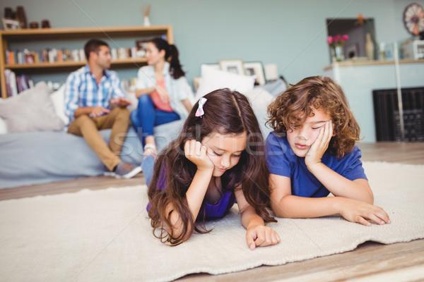 Kinderen tapijt ouders vergadering Stockfoto © wavebreak_media