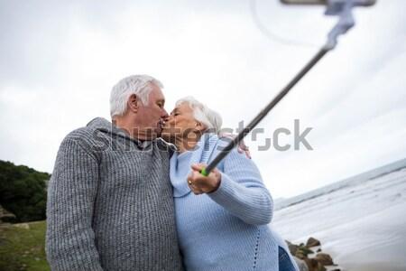 Starszy para piknik plaży kobieta ręce szczęśliwy Zdjęcia stock © wavebreak_media