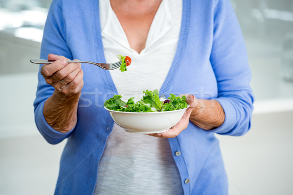 Mid section of senior woman eating salad Stock photo © wavebreak_media