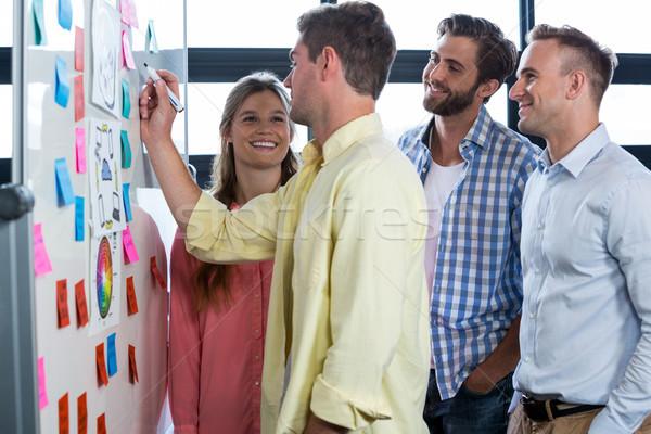 üzletember megbeszél kollégák ír tábla kreatív Stock fotó © wavebreak_media