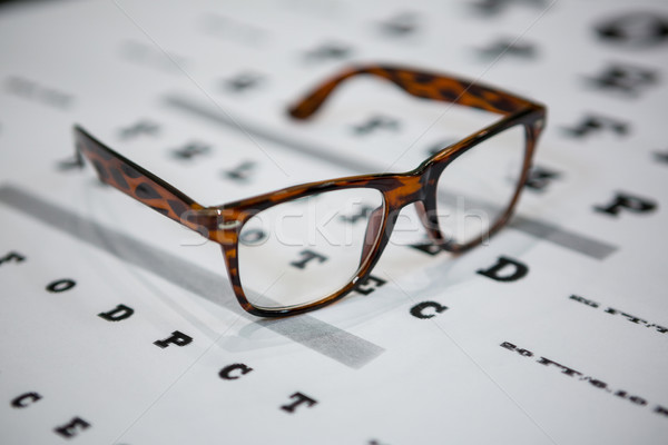 Close-up of spectacles on eye chart Stock photo © wavebreak_media