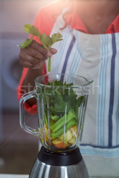 женщину растительное смеситель кухне любви домой Сток-фото © wavebreak_media