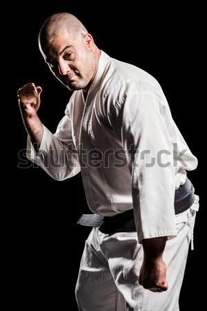 Karate player breaking wooden plank Stock photo © wavebreak_media