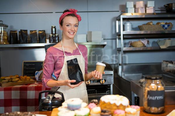 肖像 女性 スタッフ コーヒー 袋 ストックフォト © wavebreak_media