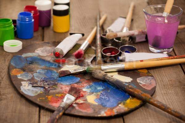 Palette mehrere Farben Wasserfarbe malen Bildung Stock foto © wavebreak_media