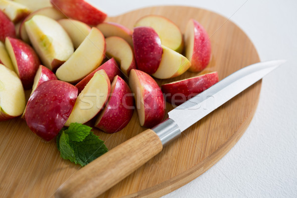 Ломтики красное яблоко ножом любви яблоко Сток-фото © wavebreak_media