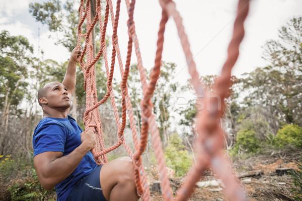 Stockfoto: Geschikt · man · klimmen · net · fitness