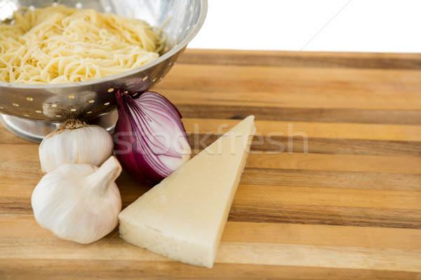 Сток-фото: пасты · Ингредиенты · разделочная · доска · древесины · вилка