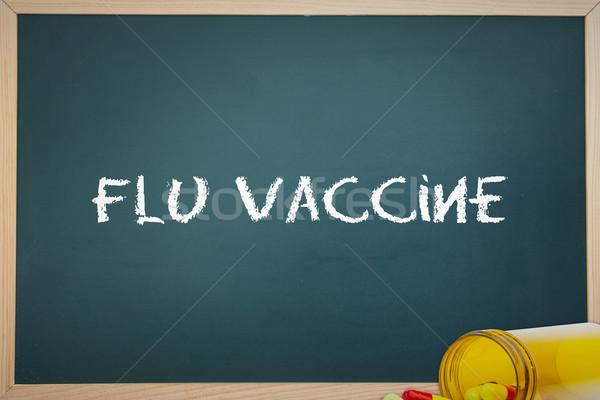 Grip aşı hapları kelime kara tahta tıbbi Stok fotoğraf © wavebreak_media