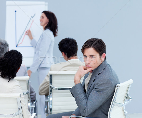 Vervelen charmant zakenman presentatie collega's vergadering Stockfoto © wavebreak_media