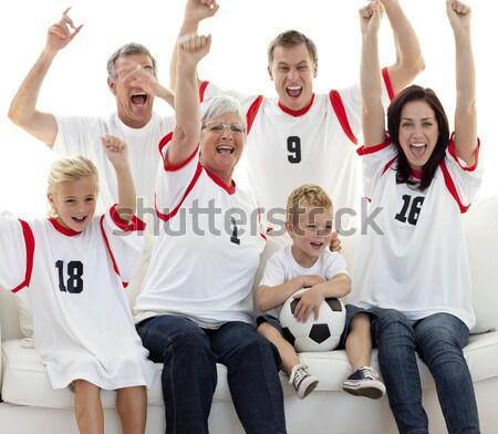 Famiglia felice guardare calcio match televisione home Foto d'archivio © wavebreak_media