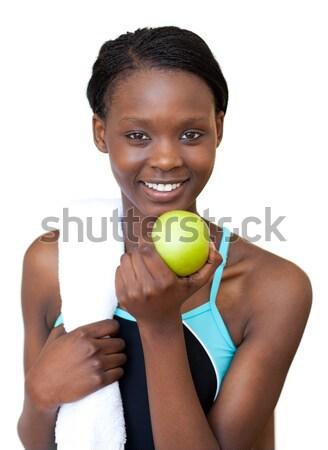 笑みを浮かべて 若い女性 食べ リンゴ 白 髪 ストックフォト © wavebreak_media