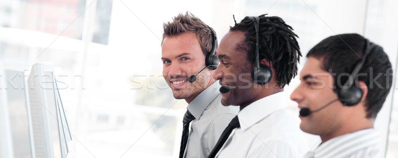 Takım call center kulaklık bilgisayar Stok fotoğraf © wavebreak_media