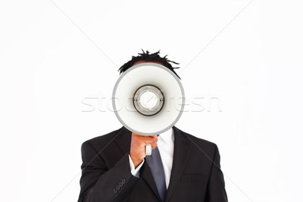 Business aankondiging megafoon zakenman man Stockfoto © wavebreak_media
