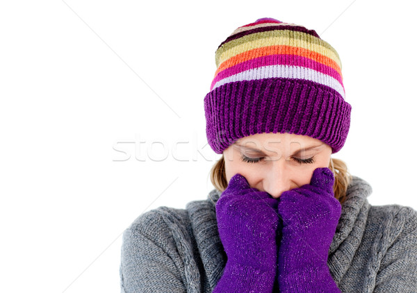 Freeze woman with gloves and a hat closing her eyes Stock photo © wavebreak_media