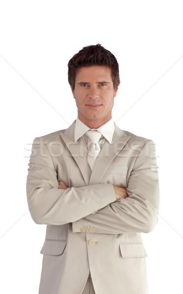 Portret charismatische manager naar camera geïsoleerd Stockfoto © wavebreak_media