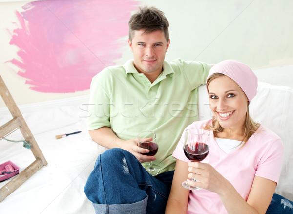 пару свободное время вместе диван стекла Сток-фото © wavebreak_media
