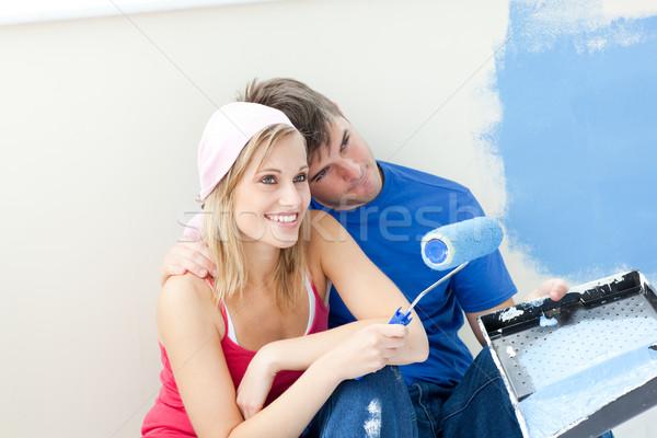 привязчивый пару Живопись комнату дома Сток-фото © wavebreak_media