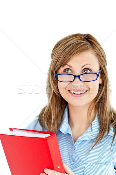 Młoda kobieta czerwony folderze biały Zdjęcia stock © wavebreak_media