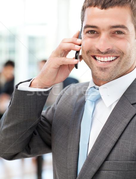 Derűs üzletember telefon megbeszélés csapat iroda Stock fotó © wavebreak_media