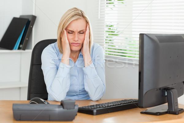Hayal kırıklığına uğramış bakıyor kadın gözleri kapalı ofis yüz Stok fotoğraf © wavebreak_media