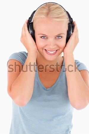Retrato mulher música branco sorrir Foto stock © wavebreak_media
