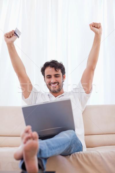 Portre adam alışveriş çevrimiçi oturma odası Stok fotoğraf © wavebreak_media