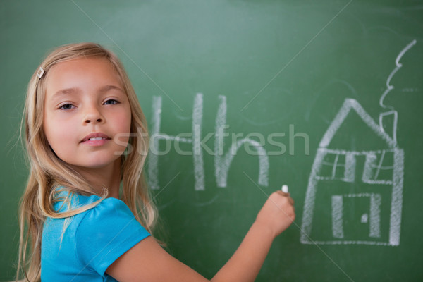 Stock foto: Schülerin · Lernen · Alphabet · Tafel · Hand · Schule