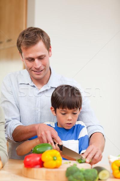 Apa fia szeletel zöldségek együtt étel egészség Stock fotó © wavebreak_media
