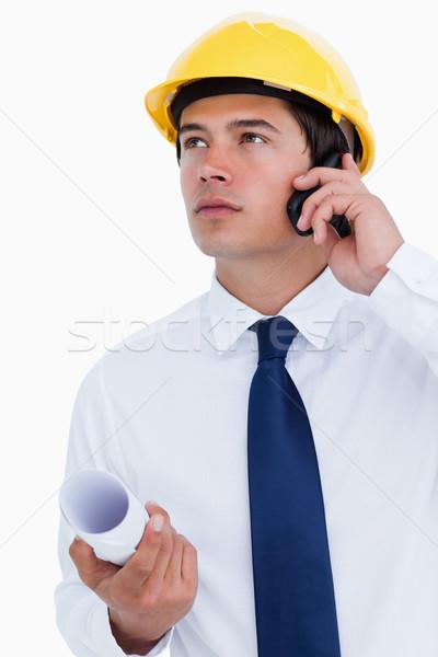 Masculina arquitecto escuchar llamador blanco Foto stock © wavebreak_media