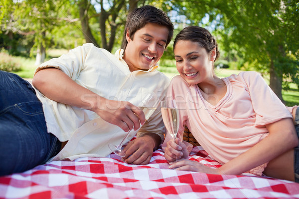Two friends smiling while looking at glasses of champagne while lying on a red and white blanket dur Stock photo © wavebreak_media