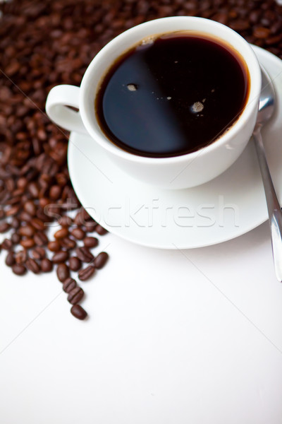 Café expreso frijoles blanco café fondo negro Foto stock © wavebreak_media