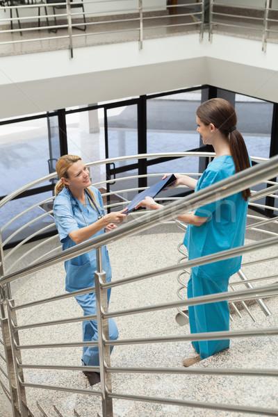 Foto stock: Enfermera · carpeta · otro · mujer · médico