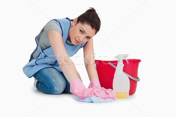 Kimerült takarítónő felfelé padló fehér kéz Stock fotó © wavebreak_media