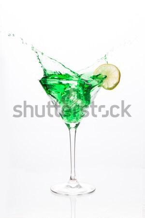 Cocktail glas groene alcohol witte Stockfoto © wavebreak_media