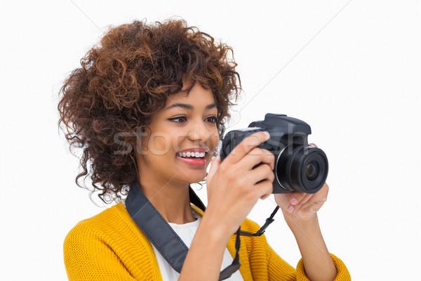 Mutlu kız fotoğraf beyaz kadın gülen Stok fotoğraf © wavebreak_media