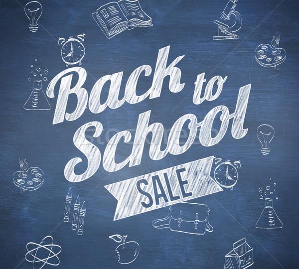 összetett kép vissza az iskolába vásár üzenet kék Stock fotó © wavebreak_media