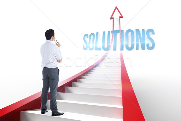 Solutions against red arrow with steps graphic Stock photo © wavebreak_media