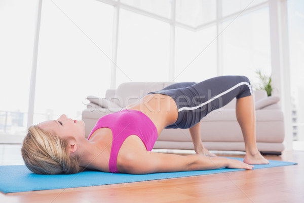Slim blonde doing pilates on exercise mat Stock photo © wavebreak_media