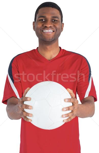 Przystojny piłka nożna fan patrząc kamery biały Zdjęcia stock © wavebreak_media