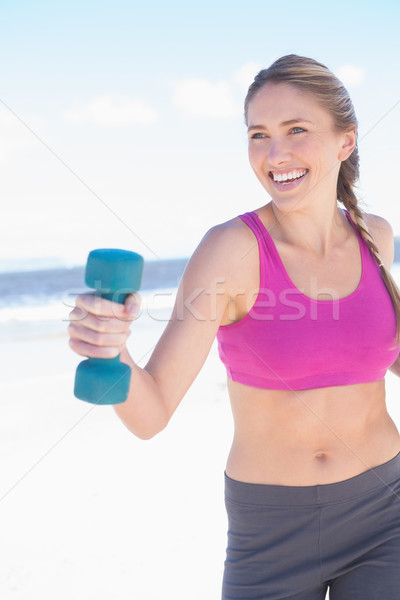 Fit woman working out with dumbbells on the beach Stock photo © wavebreak_media