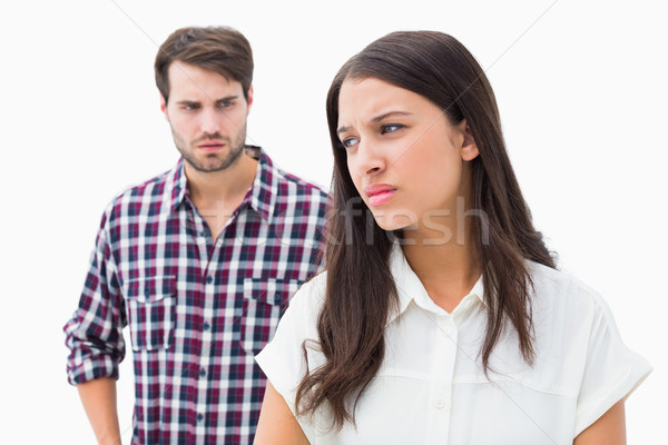 Angry brunette not listening to her boyfriend Stock photo © wavebreak_media