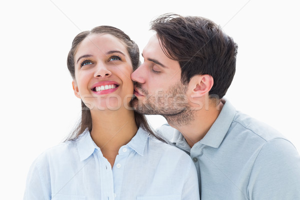 Bell'uomo bacio fidanzata guancia bianco amore Foto d'archivio © wavebreak_media