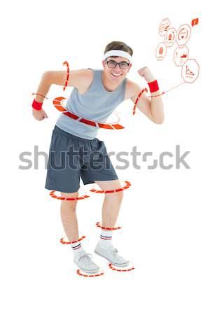 Hipster posiert Sportbekleidung weiß Fitness Porträt Stock foto © wavebreak_media