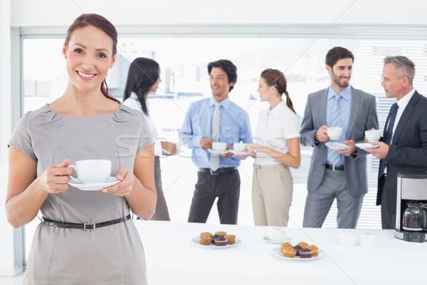 Iş ekibi öğle yemeği ofis gıda adam Stok fotoğraf © wavebreak_media