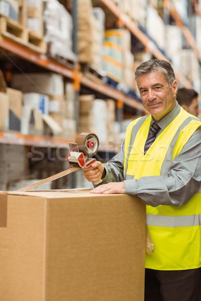 Depo işçi karton kutuları nakliye büyük Stok fotoğraf © wavebreak_media