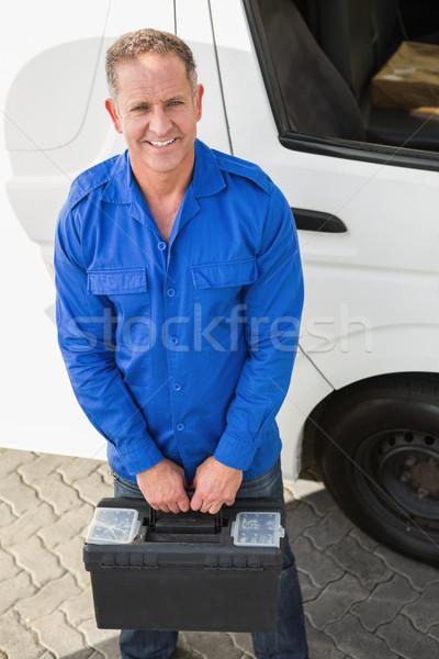 Retrato sorridente handyman caixa de ferramentas tem Foto stock © wavebreak_media
